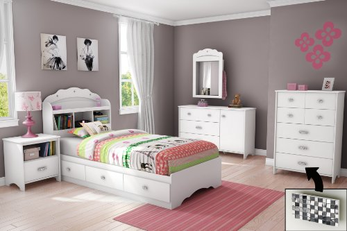 Pure White South Shore Tiara Collection Twin Mates Bed